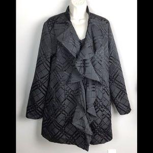 Anthropologie Tabitha Black Cascading Ruffle Coat